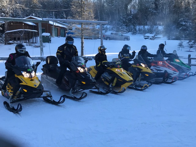 Snowmobile group at Wilderness Bay Lodge and Resort